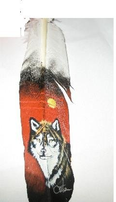 Original Wolf Painting on a Single Turkey Feather. Handpainted Native American Art and Crafts