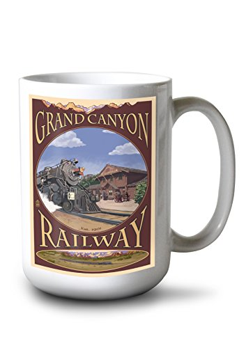 Lantern Press Grand Canyon Railway, Arizona (15oz White Ceramic Mug) ()