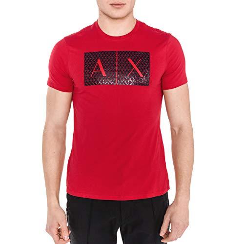 A|X Armani Exchange Men's Triangulation Crew Neck Tshirt, HIGH Risk RED, M