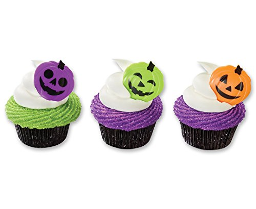 CakeDrake Colored Pumpkin Face Halloween Cupcake Picks (12 Pieces) -
