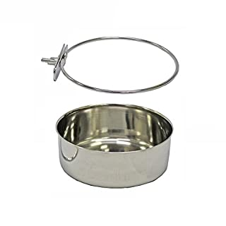 Pet Dog Stainless Steel Coop Cups with Clamp Holder - Detached Dog Cat Cage Kennel Hanging Bowl,Metal Food Water Feeder for Small Animal Ferret Rabbit (XL)