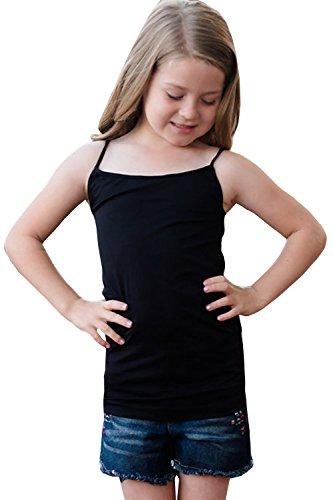 Girls Cami Tank Tops Cotton Jersey Spaghetti Straps Camisole Undershirt,Black,120(4-5Years/Height 46In) (Girls Strap Shirt Spaghetti)