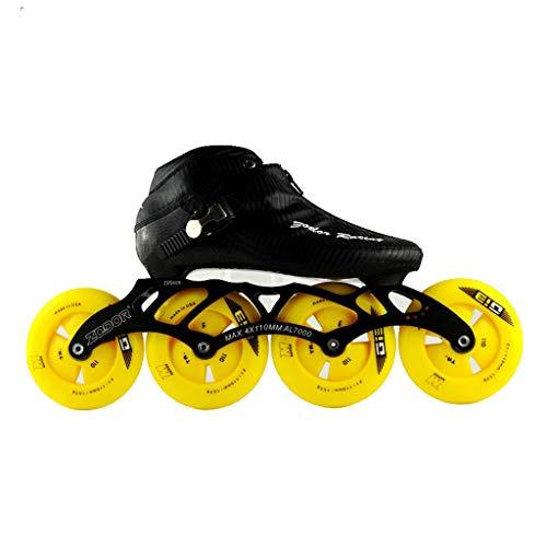 透明に労働手ailj スピードスケートシューズ90MM-110MM調整可能なインラインスケート、ストレートスケートシューズ(3色) (色 : イエロー いえろ゜, サイズ さいず : EU 36/US 4.5/UK 3.5/JP 23cm)