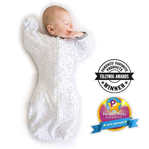 Large Product Image of Amazing Baby Transitional Swaddle Sack with Arms Up Mitten Cuffs, Confetti, Sterling, Medium, 3-6 Months (Parents' Picks Award Winner)