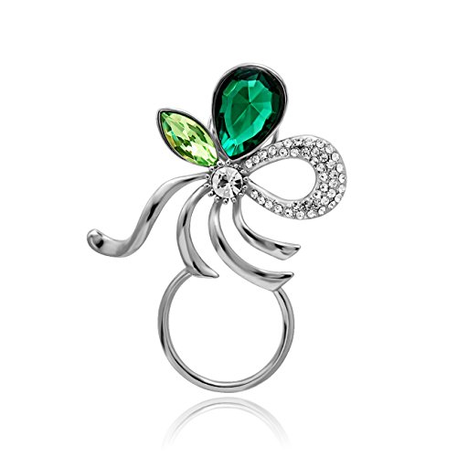 Emerald Glass Brooch - NOUMANDA Fashion Emerald Bow Magnetic Eyeglass Pin Brooch Glasses Spectacles Sunglasses Clip Holder (Silver)