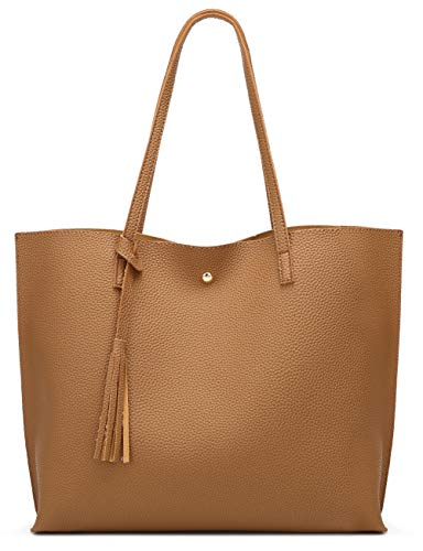 Women's Soft Faux Leather Tote Shoulder Bag from Dreubea, Big Capacity Tassel Handbag Brown ()