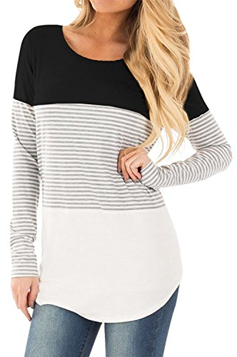 Eurivicy Womens Striped T-Shirt Color Block Long Sleeve Casual Round Neck Tunic Tops