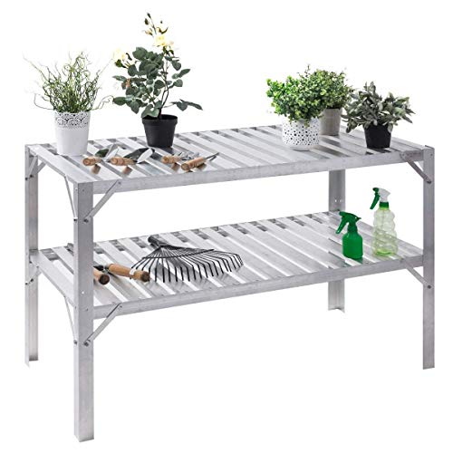 (Giantex Aluminum Workbench Oranizer Greenhouse Prepare Work Potting Table Storage Garage Shelves, Silver)
