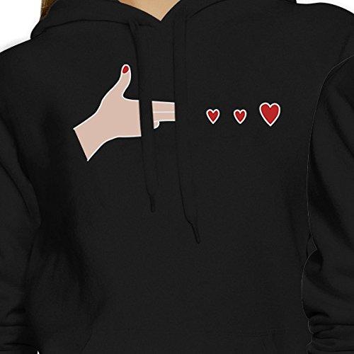 365 Printing - Sudadera con capucha - Manga Larga - para mujer Gun Hands With Hearts - Black