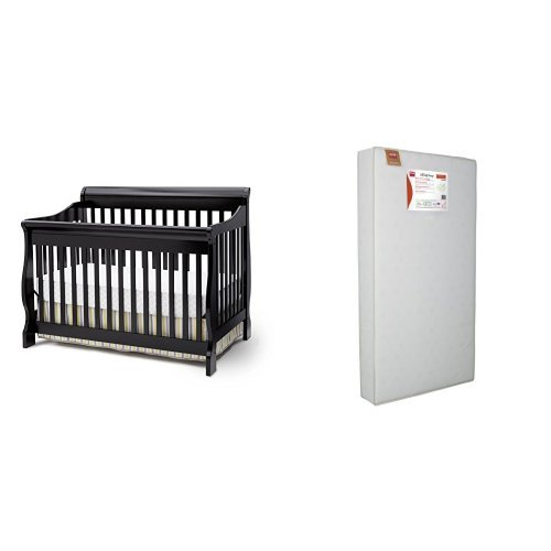 Delta Children's Products Canton 4 in 1 Convertible Crib and Simmons Kids Beauty Sleep and Toddler Mattress, Black