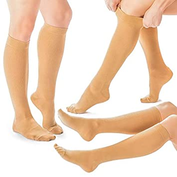 189c93d1d3 3 Pairs of Compression Socks for Women Knee-high Compression Stockings  Relieve Calf, Leg