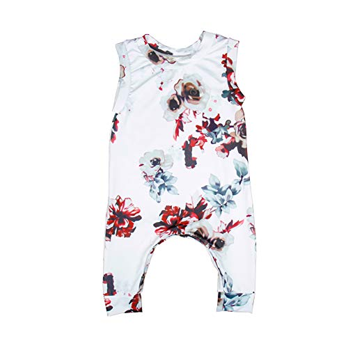 (YDuoDuo Baby Infant Toddler Girl Romper Vintage Summer Clothes Floral Sleeveless Onesies Jumpsuit Outfit White)