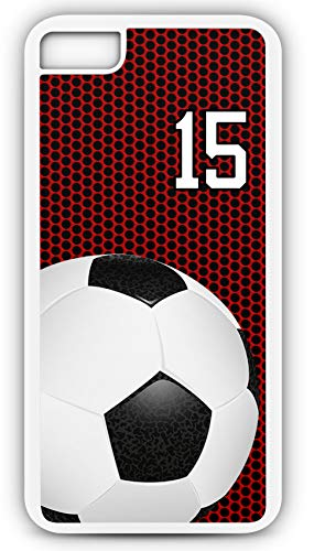 iPhone 7 Phone Case Soccer SC035Z by TYD Designs in White Plastic Choose Your Own Or Player Jersey Number 15 ()