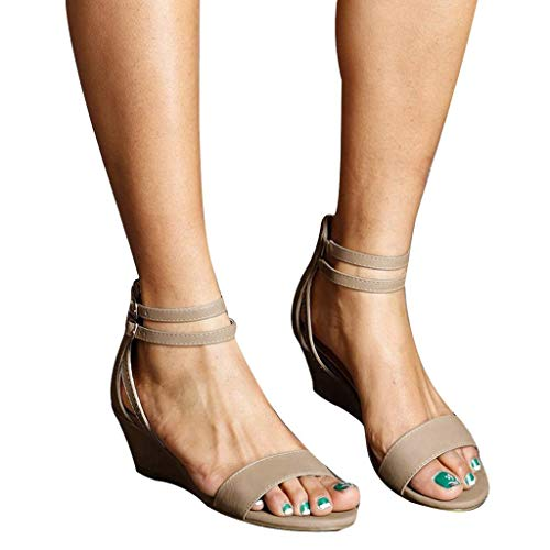 Fitfulvan Womens Casual Trim Wedge Zipper Buckle Ankle Strap Open Toe Sandals Summer Solid Color Shoes ()