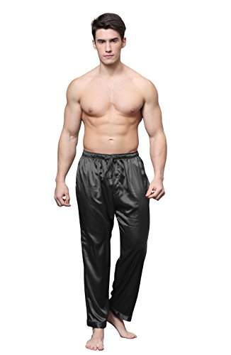Tony & Candice Men's Satin Pajama Pants Long PJ Bottoms (Large, Black) - New Mens Silk Satin Pajama
