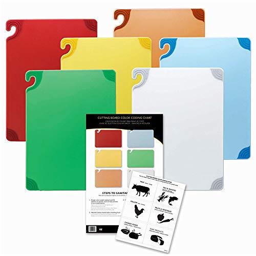 (San Jamar CBG1824KC Saf-T-Grip Cutting Board Combo Kit, 6 (18x24) & 1 Wall Chart, NSF )