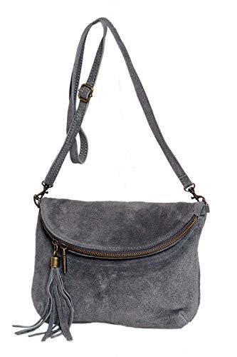 suede Cuir sac formel Bandoulière Real Fashion Messenger Italy De À Gris Minibag Clair Velours Bwz5ntqdC