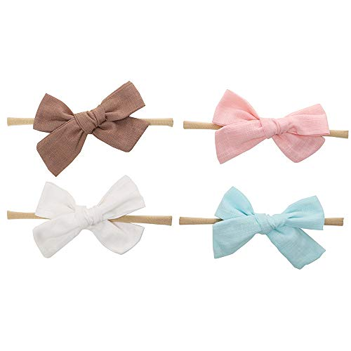 Linen Fabric Bows-BEAMIO Baby Headbands Nylon Bow Hair Accessorie(1 Size Fits All) -