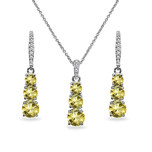 - Sterling Silver Citrine 3-Stone Journey Pendant Necklace & Dangle Leverback Earrings Set for Women Teen Girls