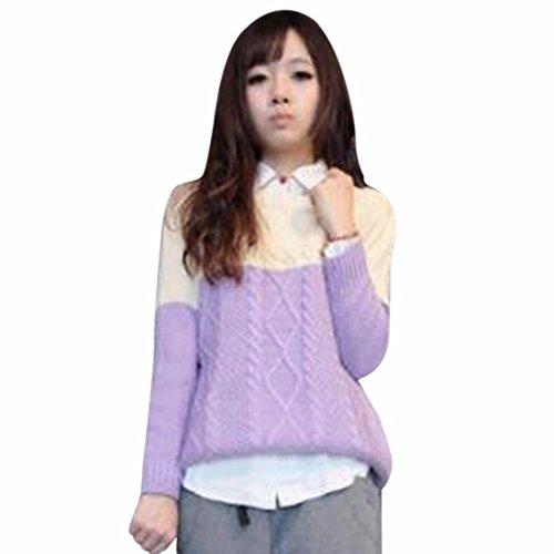 QIYUN.Z Muchachas De Las Mujeres De La Manga Larga Contraste De Color Tejer Suéteres Jersey Amarillento Y Púrpura