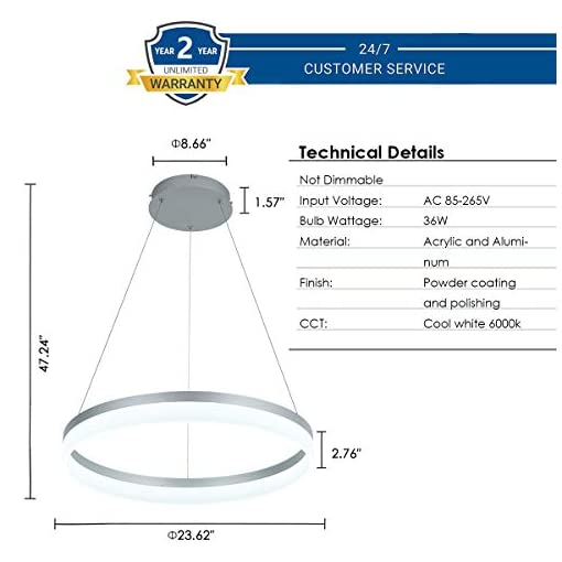 Interior Lighting LED Modern Chandelier 1-Ring Circular Pendant Light Flush Mount Pendant Lighting for Living Room Dining Room, 6000k… modern ceiling light fixtures