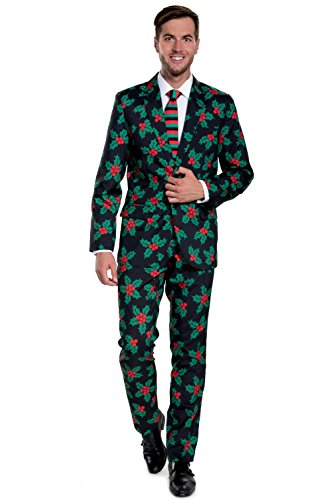 Christmas Suit.Tipsy Elves Men S Black Holly Mistletoe Ugly Christmas Suit Christmas Party Suit