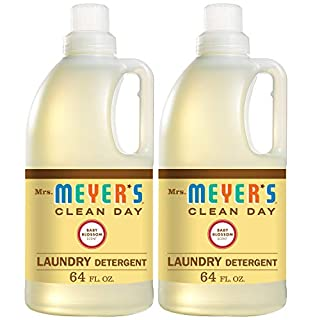 Mrs. Meyer's Clean Day Liquid Laundry Detergent, Cruelty Free and Biodegradable Formula, Baby Blossom Scent, 64 oz- Pack of 2