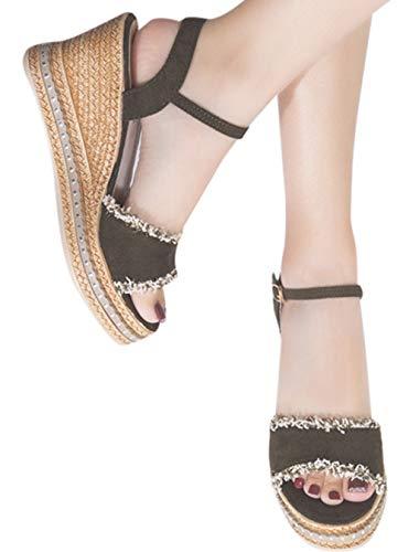 Hemlock Women Platform Sandals Shoes Peep Toe Wedge Sandals High Heeled Wedges Buckle Strap Sandals Army ()