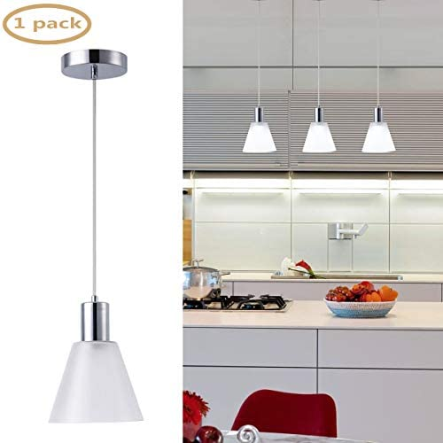 Harchee Mini Pendant Lighting with Cone Frosted-Glass Shade, Adjustable LED Modern Pendant Light Fixture Ceiling Hanging Lamp for Kitchen Island Living Room Counter Bar Cafe 7W Daylight 6000K