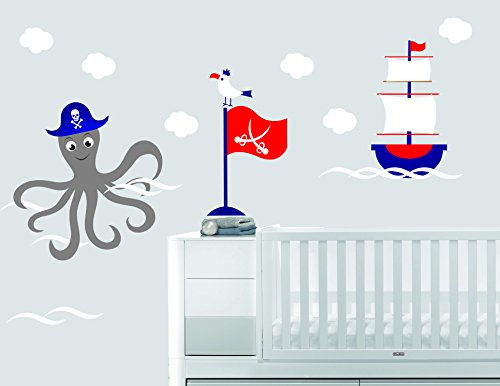 Custom Name Octopus Clouds Boat Bird Flag And Waves - Nautical Theme - Baby Boy - Wall Decal Nursery For Home Bedroom Children (696) (Wide 30