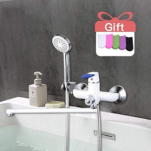 モダンスタイルの浴槽の蛇口の壁に取り付けられたバスルームシングルハンドルシャワー蛇口セット冷温水ミキサータップ35Cm長い鼻