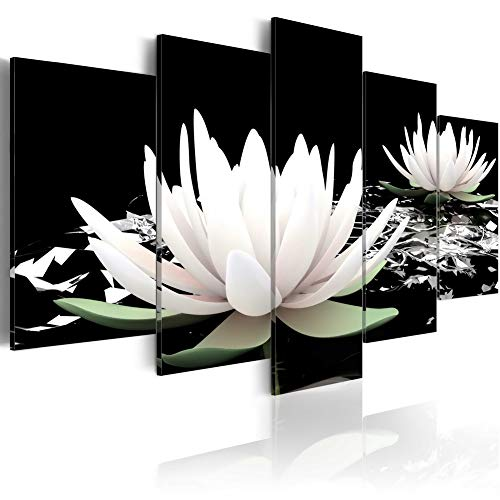 5 Panel Lotus Flower Paintings Black and White Traditional Chinese Canvas Wall Art Modern Giclee Prints Decor Floral Artwork for Living Room - Chinese Lotus Flower Art