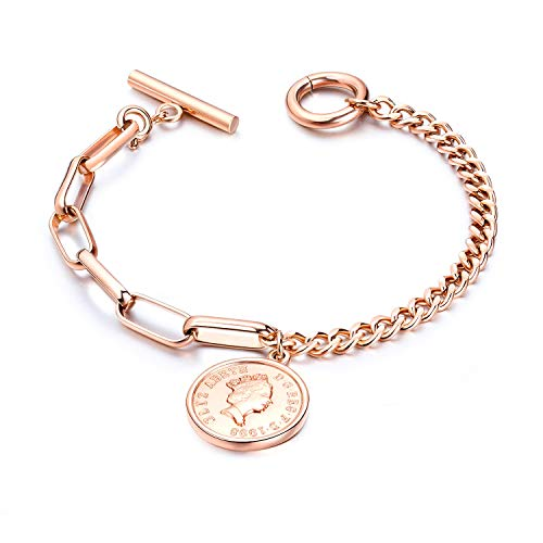 Fashion Ahead Elizabeth Coin Charm Bracelet for Women Girls Silver Rose Gold Stainless Steel Link Chain Bracelet Toggle Clasp, 7.3 inches (Rose Gold -Elizabeth Coin)