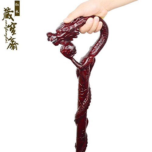 d7cbb0646e68 Yaxuan Wooden Walking Stick Sticks Solid Wood Old Wooden Stick Mahogany  Cane Cherry Hand-Carved Men / Women / Grandma / Grandpa by Halloween Gifts