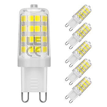 LE 5 Pack G9 LED Light Bulb, Replace 50W Halogen Bulb, 5W, 360° Beam Angle, 340lm, Daylight White, 5000K, Non-dimmable, Corn Light Bulb