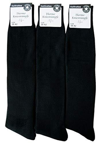 6 Paar Herren Thermo Kniestrümpfe Vollfrottee | Männer Winter Socken schwarz lang