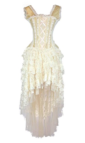 Burleska Womens Ophelie Steampunk Corset Dress (26-L, Cream)]()