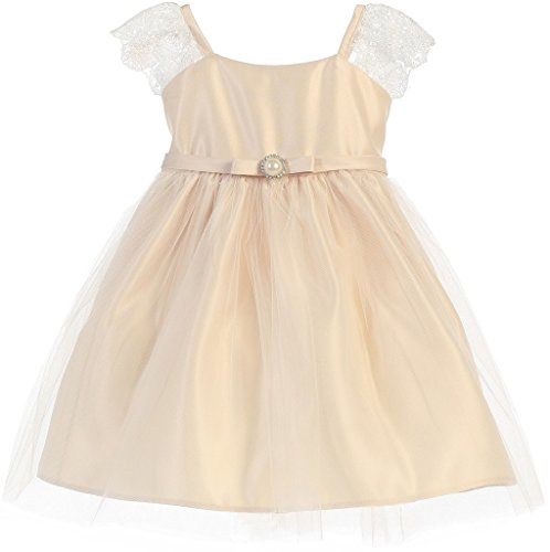 - Little Baby Girls Cap Sleeve Satin Lace Little Baby Infant Toddler Flower Girl Dress Champagne M (S62K1)