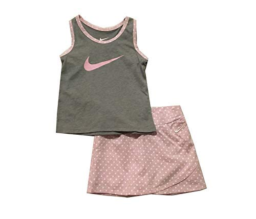 Nike Infant Girls Swoosh Tank Top and Skort Set Pink Foam Heather 12 - Nike Girls Skirt