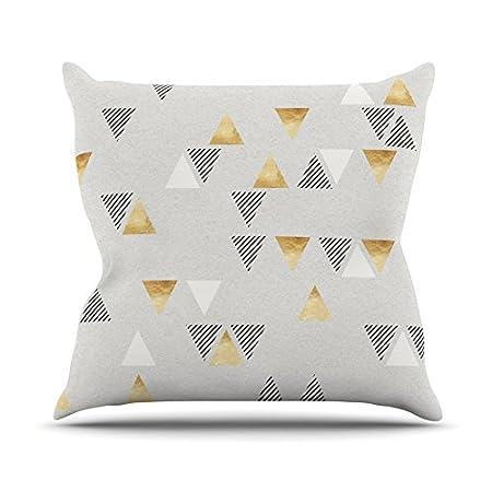 18 by 18 Kess InHouse Nick Atkinson Triangle Love Gray Gold Throw Pillow