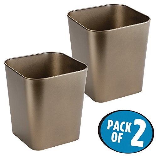 mDesign Metal Square Small Trash Can Wastebasket, Garbage Container Bin for Bathrooms, Powder Rooms, Kitchens, Home Offices - Pack of 2, Solid Steel Construction in (Design Square Metal)