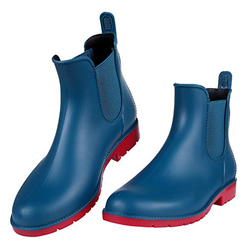 Women's Ankel Rain Boots Waterproof Slip On Chelsea Booties Teal 41 (Women Tall Boots)