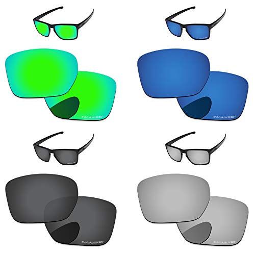 PapaViva Lenses Replacement for Oakley Sliver XL Black Grey & Chrome Silver & Bluish Green & Deep Water