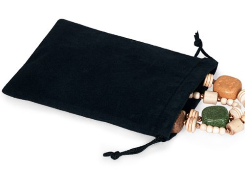 BLACK Jewelry Pouches 5'' x 7''Velour with cord drawstrings 5 unit, 25 pack per unit.