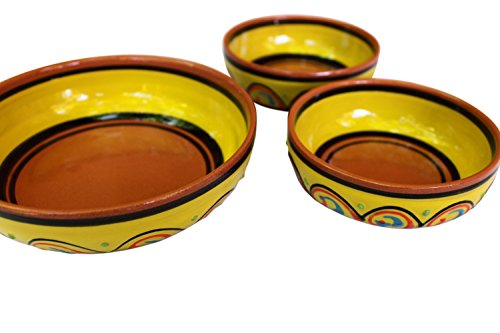 Terracotta Festive Set of 3 - Yellow - Hand Painted In Spain by Cactus Canyon Ceramics