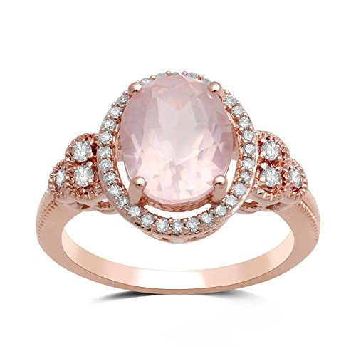 Jewelili 10kt Rose Gold 10x8mm Oval Rose De France with Created White Sapphire Halo Ring, Size 7