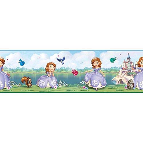 Cavalier Toile Wallpaper - York Wallcoverings DS7618BD Walt Disney Kids II Sofia/Castle Border, Blue/Green/Purple/Pink/White