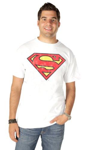 - Junk Food Superman Original Logo Adult White T-shirt (Adult XX-Large)