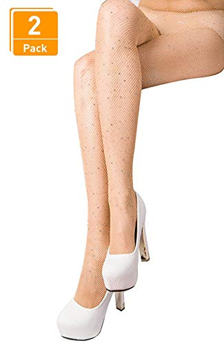 DancMolly Fishnet Stockings Pantyhose Women's 2 Pair High Waist Hollow Mesh Tights Legging Hosiery (Rhinestone/Nude Small Hole,2 Pack, One Size) -