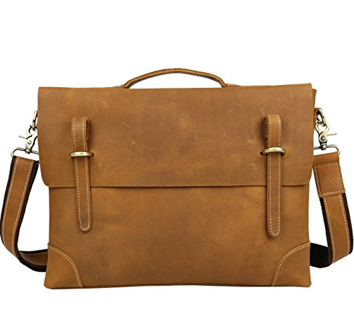 Berchirly Genuine Leather Messenger Bag Tote, Leisure 15 Inch Laptop Briefcase by Berchirly